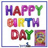بادکنک فویلی هپی برتدی خالدار رنگارنگ